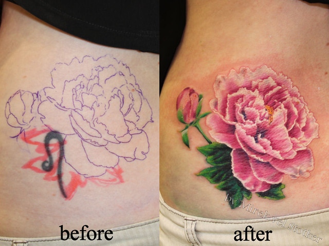 Cover up with peony tattoo by mirek vel stotker