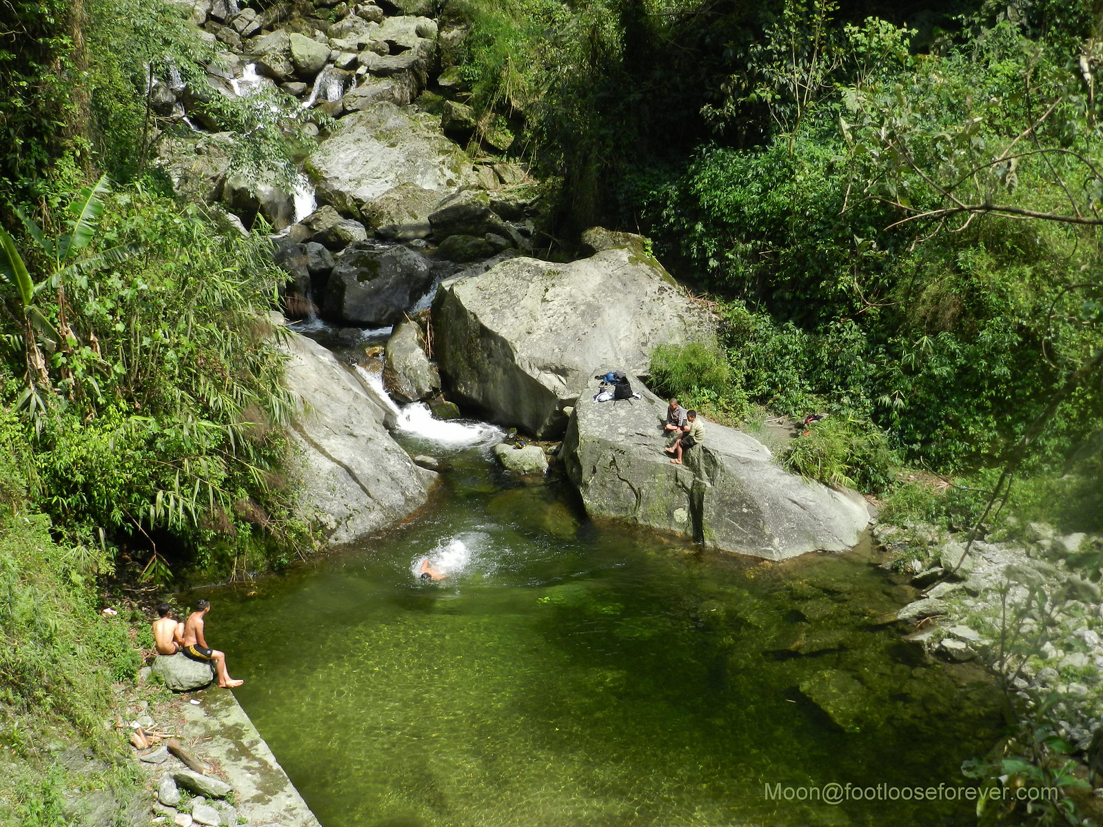 swimming, waterfall, natural pool, Lachung, North Sikkim