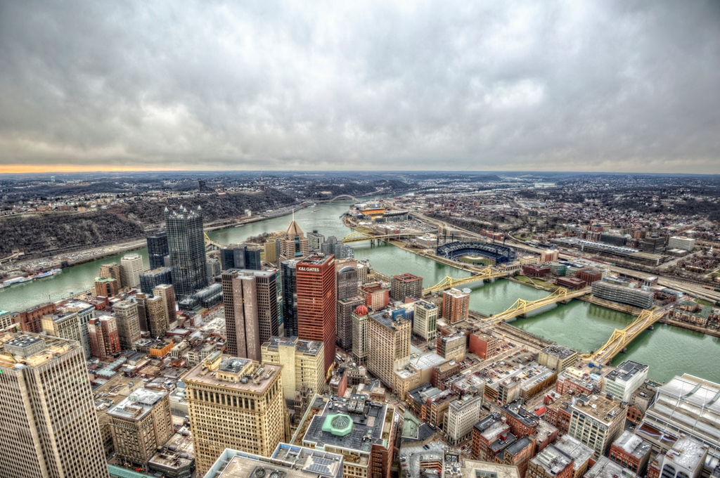 Downtown Pittsburgh From The Roof Of The Steel Building Hd