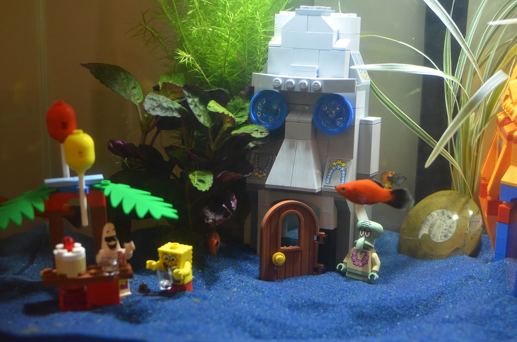 Fluval edge aquarium with spongebob lego my new fluval for Spongebob fish tank