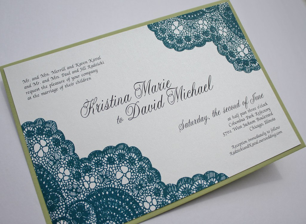 Teal And Chartreuse Vintage Antique Lace Wedding Invitatio