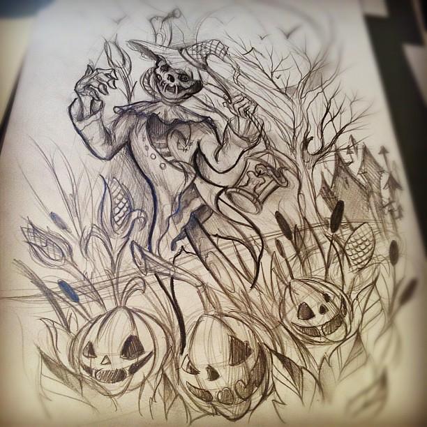 Horror Movie Tattoo Flash Scarecrow tattoo #sket...