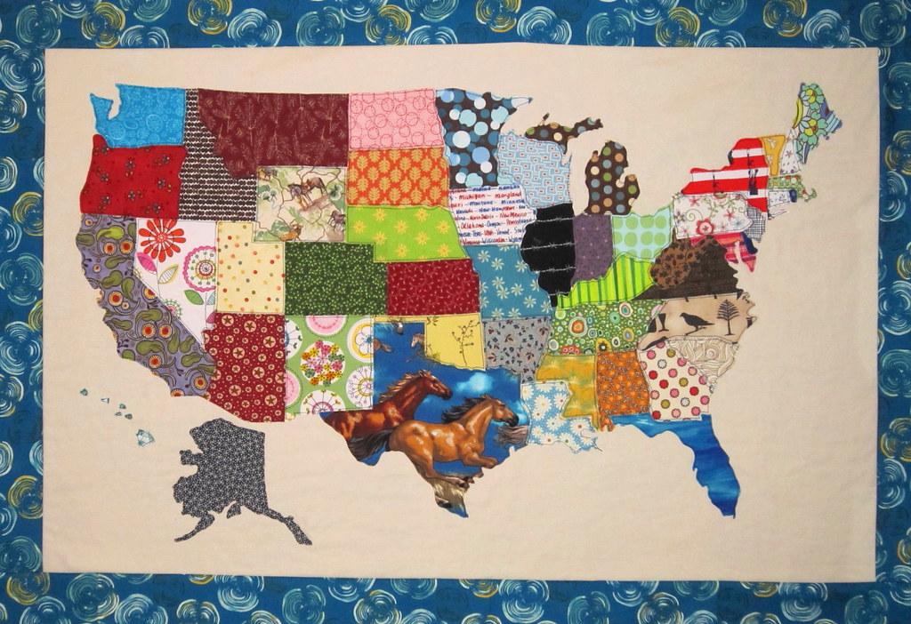 Usa Patchwork Map Quilt Pattern Original Quilt Design Fro