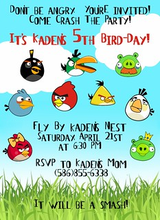 Angry Birds Invitation | by amyscustomgreetings.com