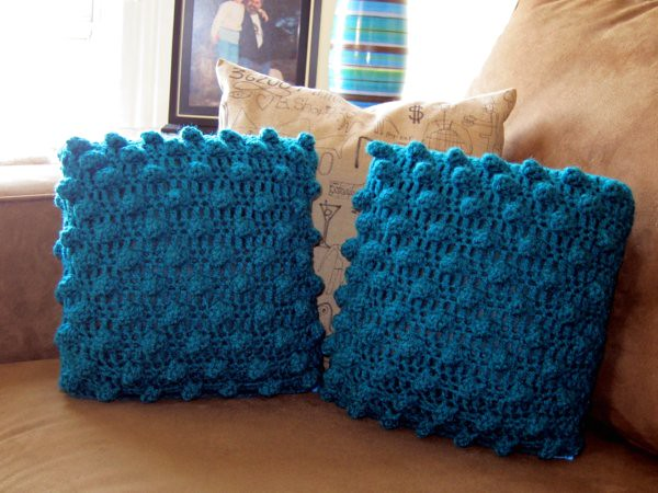 Crochet Pillow : crochet popcorn pillows (teal) these are fun teal hand cro ...