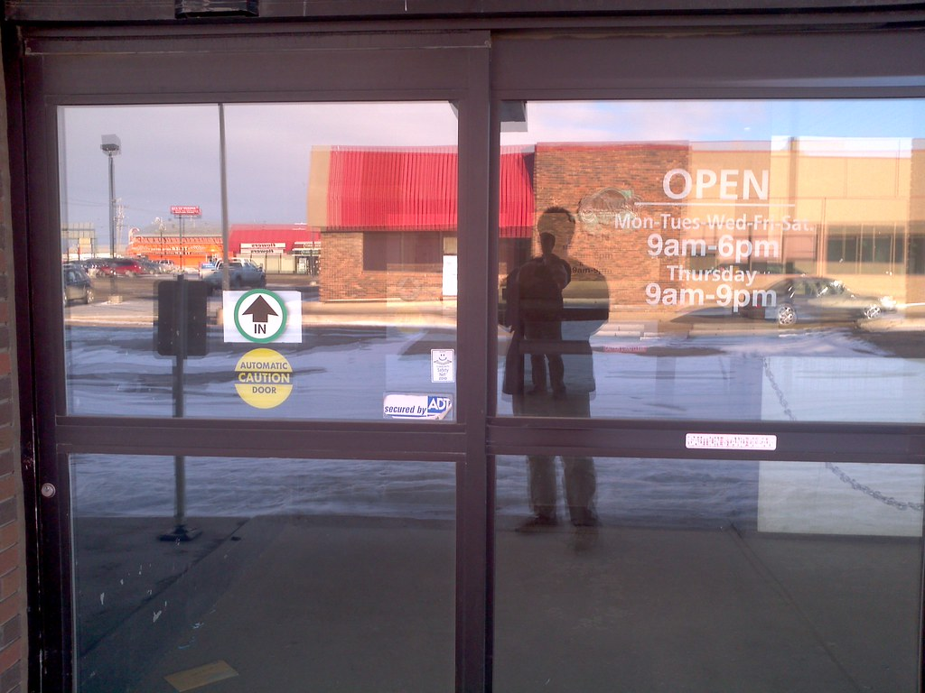 Automatic door at former rona store moved out of