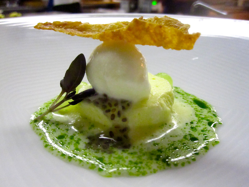 Toasted Rice Milk Puff | With lime sherbet, thai basil ...
