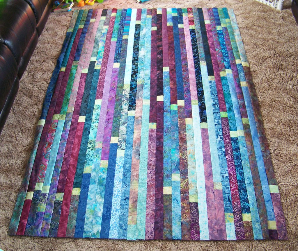 Finished Jelly Roll Race Quilt Top Started Piecing Long