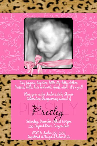 pink leopard cheetah print baby shower invitations flickr