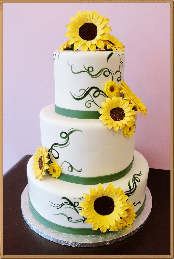Tiered White Cake With Yellow