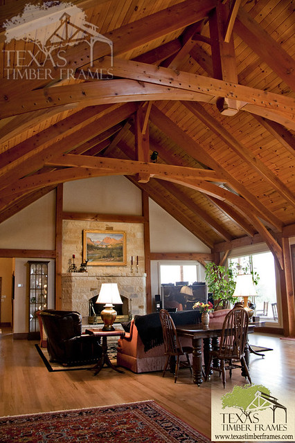 Great room texas timber frames flickr photo sharing for Timber frame great room