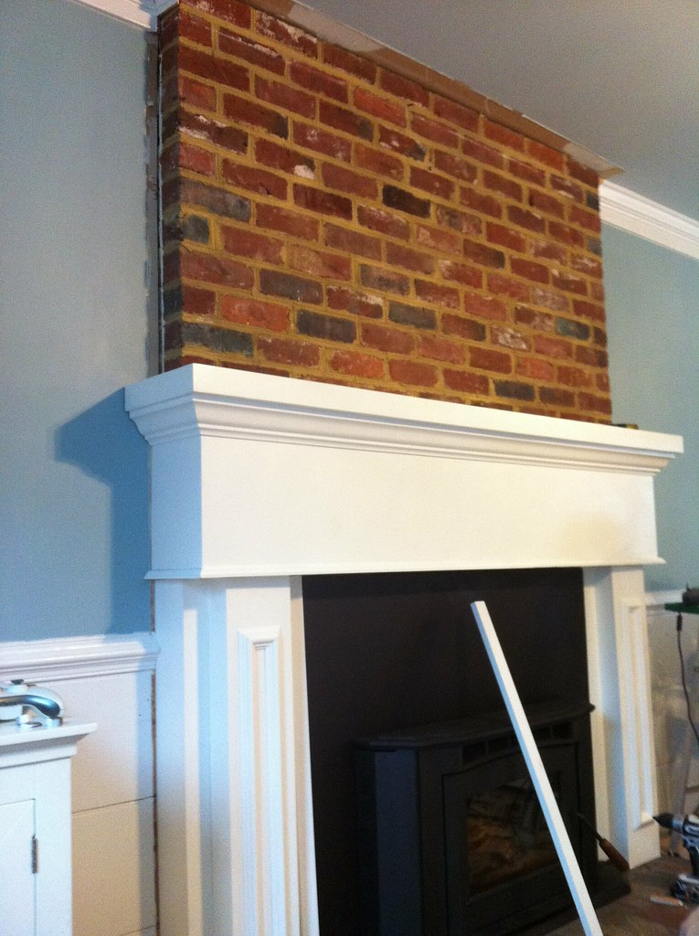 Installing Mantel Over Brick Fireplace Crown Molding
