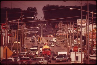 Traffic is heavy on Dodge Street, one of Omaha's main thoroughfares, May 1973 | by The U.S. National Archives