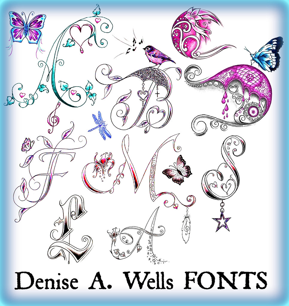 alphabet fonts by denise a wells a variety of tattoo lett flickr. Black Bedroom Furniture Sets. Home Design Ideas