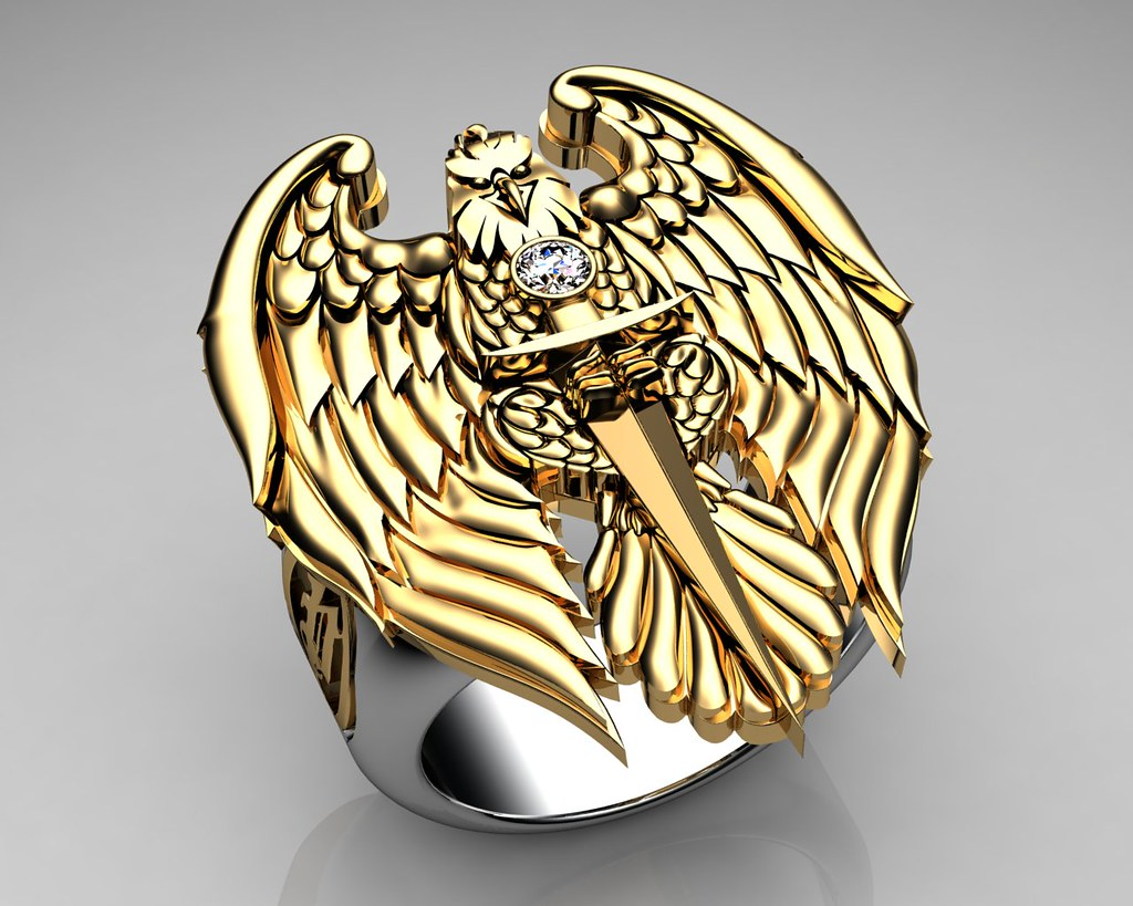Unique Mens Ring Eagle Ring Sterling Silver And Gold With