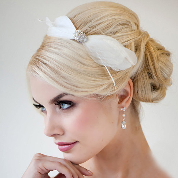Wedding Hairstyles For Long Hair 2012: KissPat Classic Bridal Feather Hair Clip Accent Pearl And