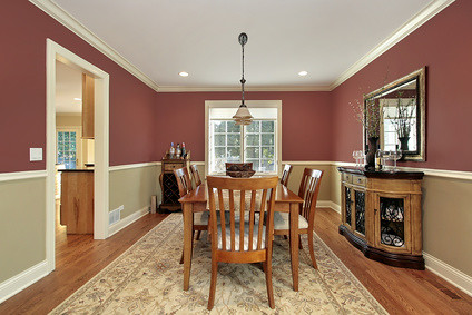 Dining room with two toned walls dining room in suburban for Living room 2 color ideas