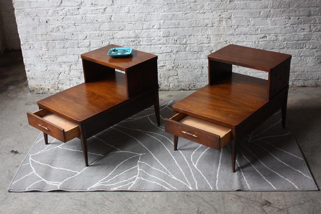 Handsome Broyhill Saga Mid Century Modern End Tables Mint