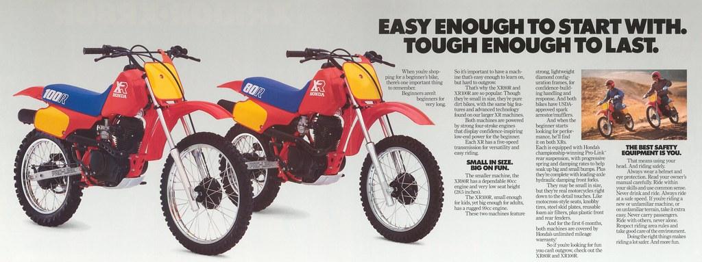 1986 XR80 and XR100 Brochure Inside | 1986 Honda XR80 and XR… | Flickr