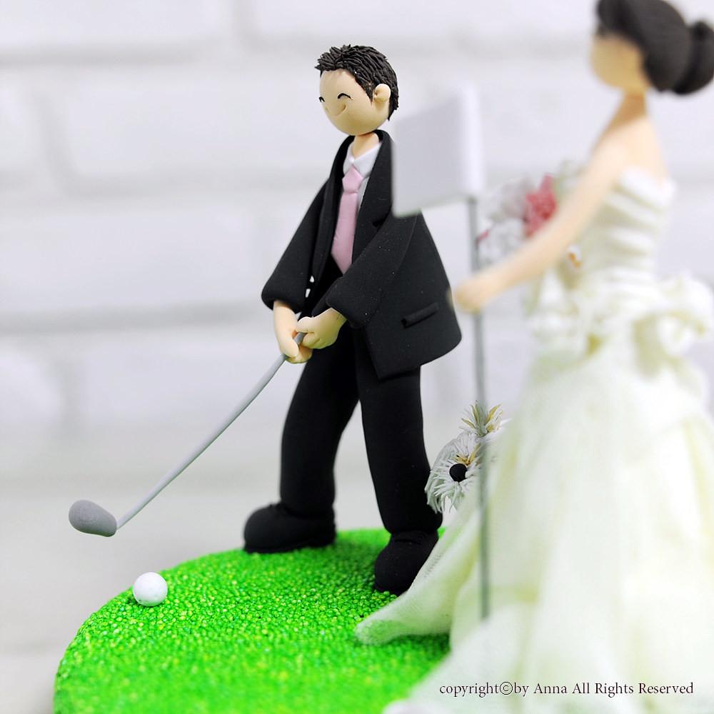 Golf Mania Couple Wedding Cake Topper