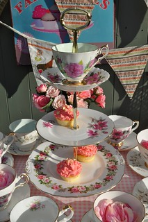 Pink Floral Vintage Tea Set and Cake Stand | by cake-stand-heaven