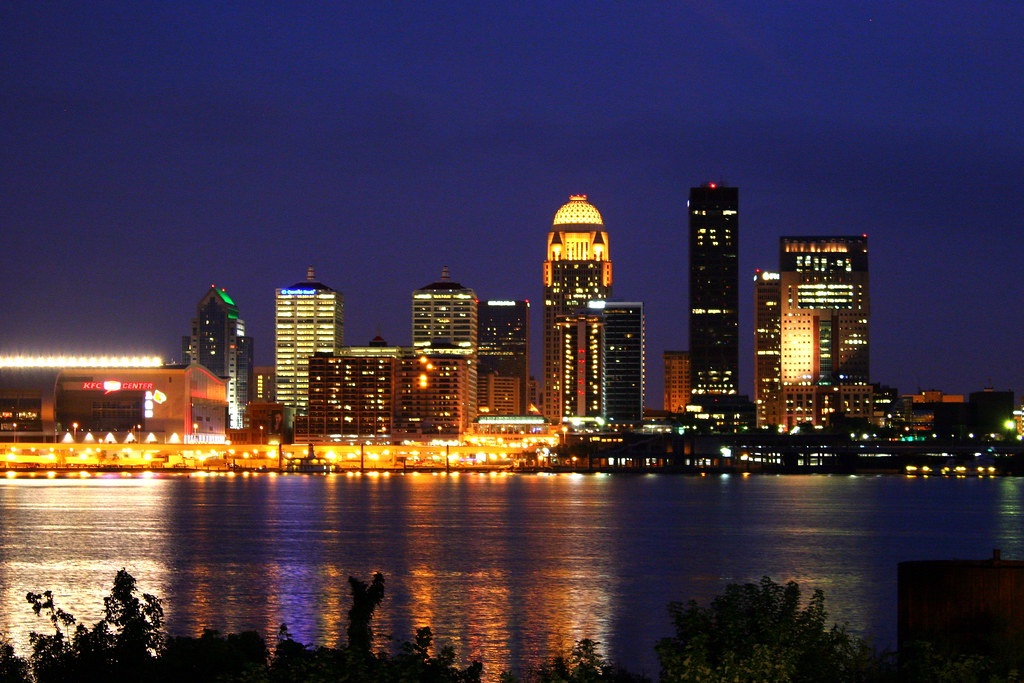 Downtown Louisville At Night Across The Ohio River In