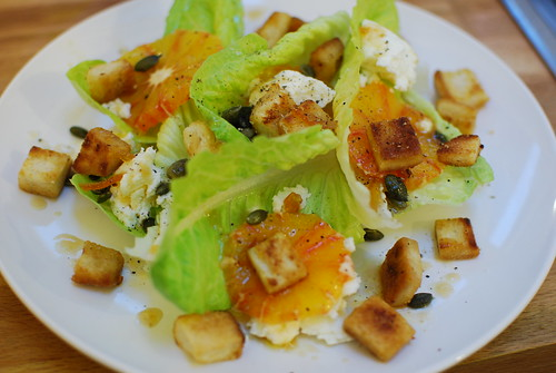 Ewe's Curd & Blood Orange Salad with Marmalade Croutons and Dressing | by Great British Chefs