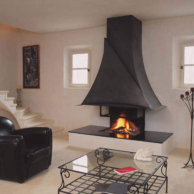 cheminee a bois foyer ouvert bois cheminee metal moderne. Black Bedroom Furniture Sets. Home Design Ideas