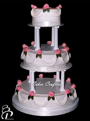 wedding cakes with pillars wedding cake with pillars three tiers 14 quot 10 quot 6 26077