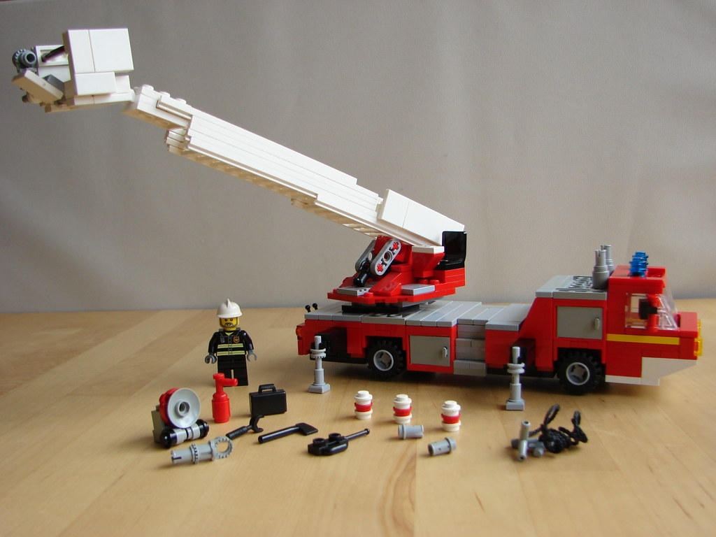 Lego Turntable Ladder Fire Truck 07 The Ladder Carries