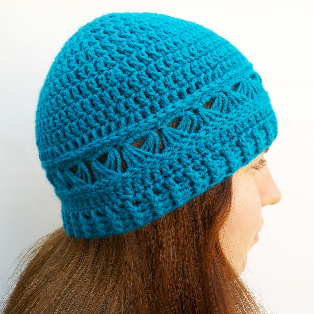 Broomstick lace crochet beanie hat | This rich peacock ...