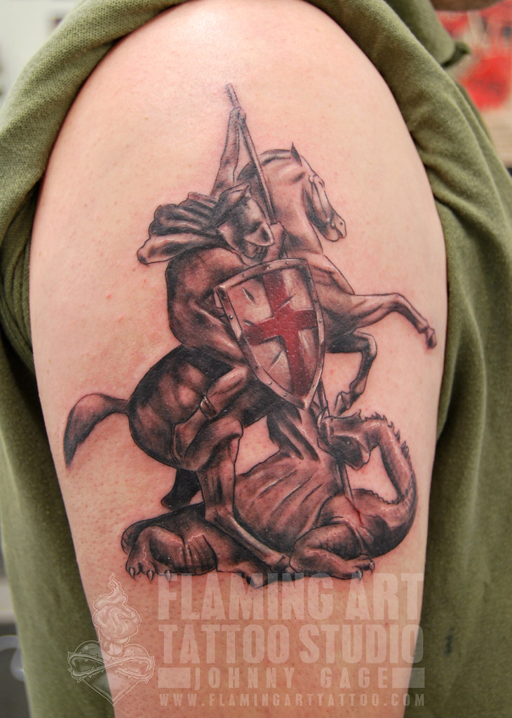 st george shield tattoo tattooed by johnny at flaming art flickr. Black Bedroom Furniture Sets. Home Design Ideas