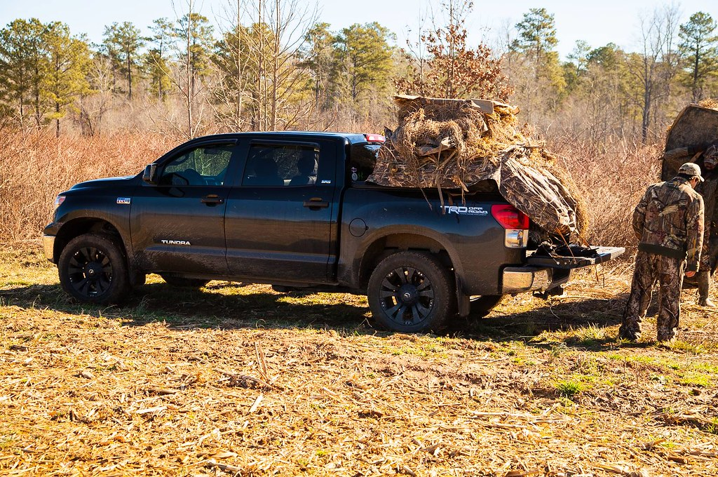Crow Hunting Equipment On Hard Truck Bed Cover On Toyota T