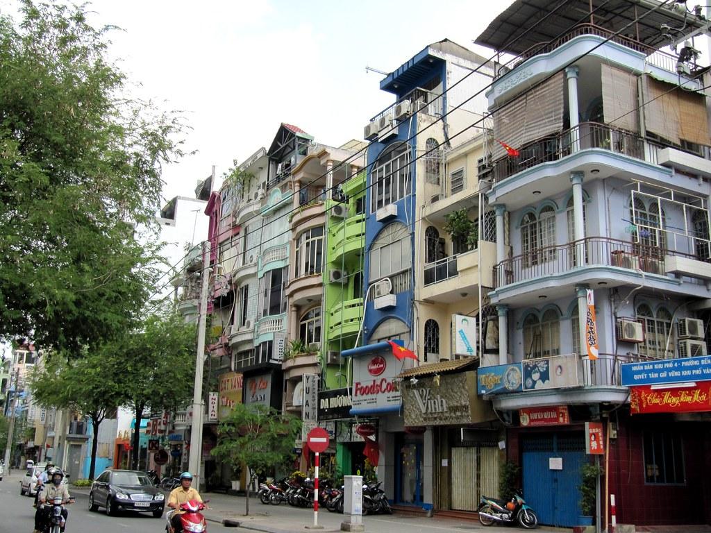 Street Scene And Shophouses Ho Chi Minh City Saigon Vi