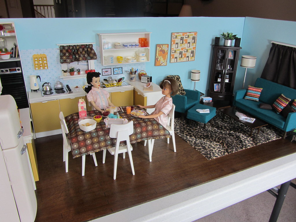 Kitchen Diorama Made Of Cereal Box: Completed Kitchen & Living Room Diorama