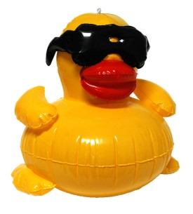 Inflatable duck with glasses pool toy