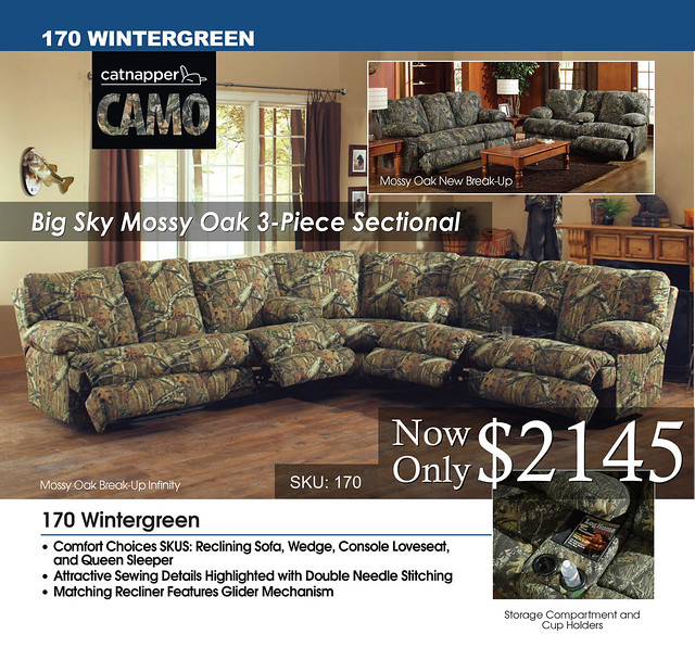 Big Sky Mossy Oak 3 Piece Sectional