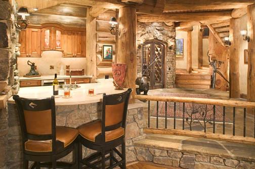 Log Home Interiors Photos: Log Work By Sitka Log Homes. Wine