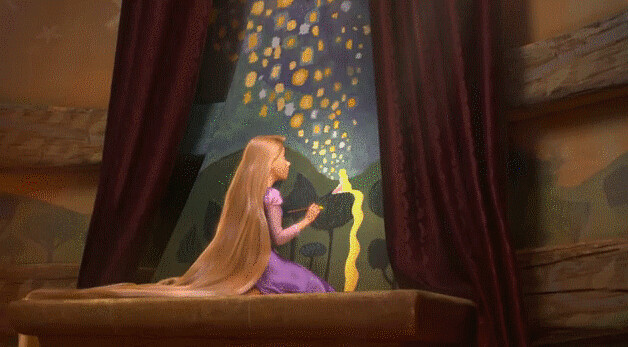rapunzel painting lights scene from the movie tangled