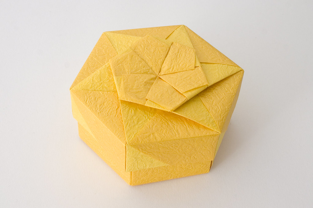 hexagonal origami box with lid  3   4