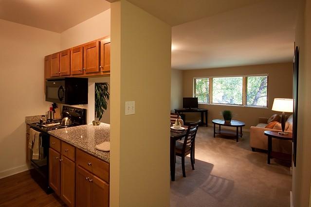 Oak Park City Apartments In Oak Park Il Apartment Model Kitchen Living Room Flickr Photo