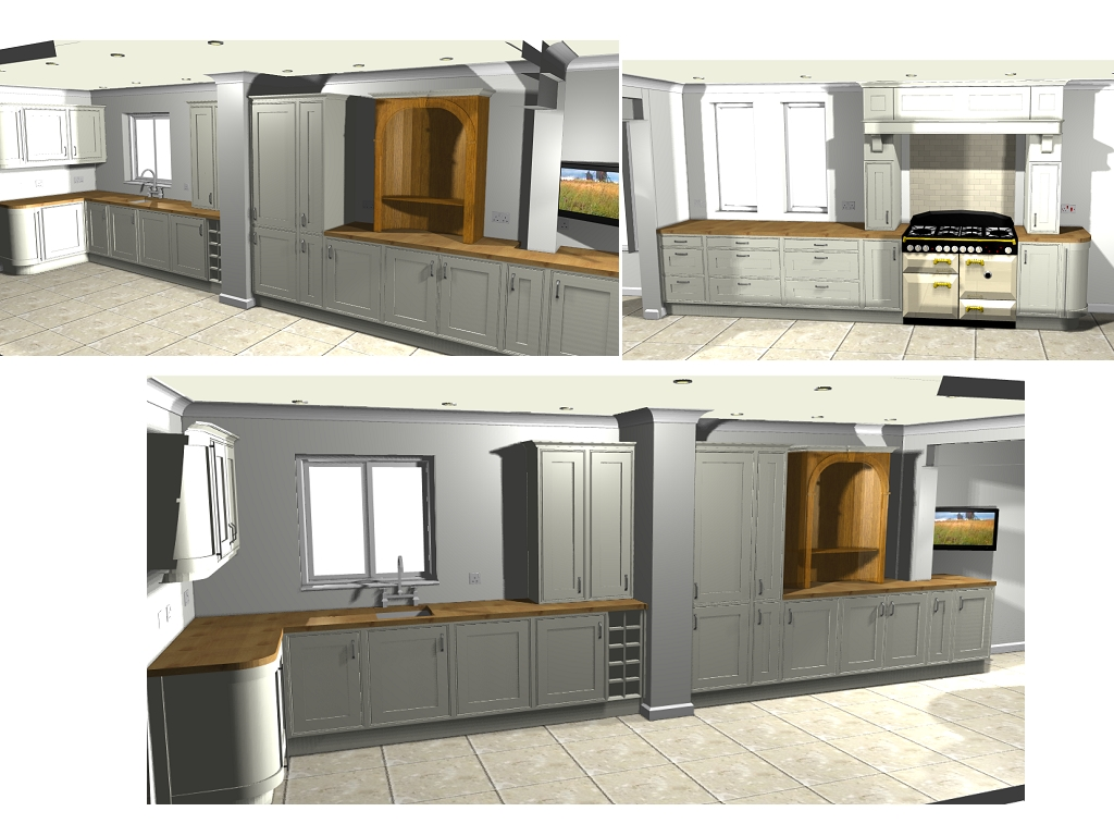 B Q Kitchen Corner Wall Units