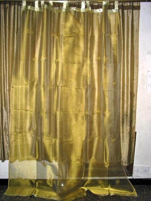 2 Organza Sari Curtains Drapes Mirror Gold Sheer Panels 92