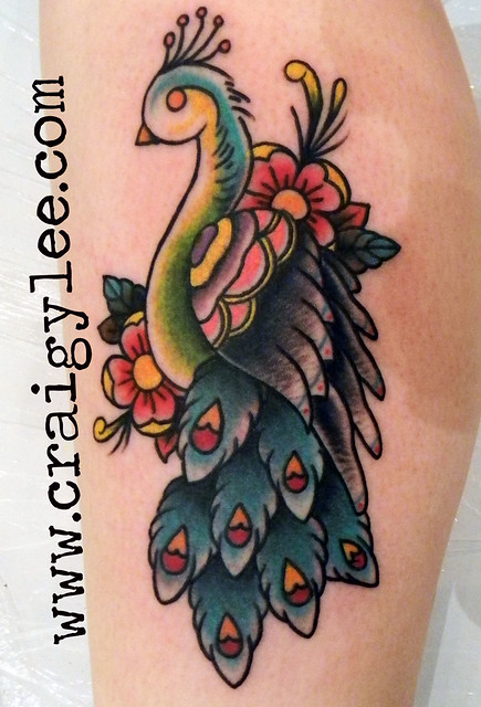 Old school peacock tattoo iknowcraig www for Traditional peacock tattoo