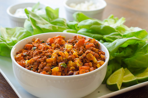 Chorizo-Sweet Potato Lettuce Wraps | by Pink Parsley Blog