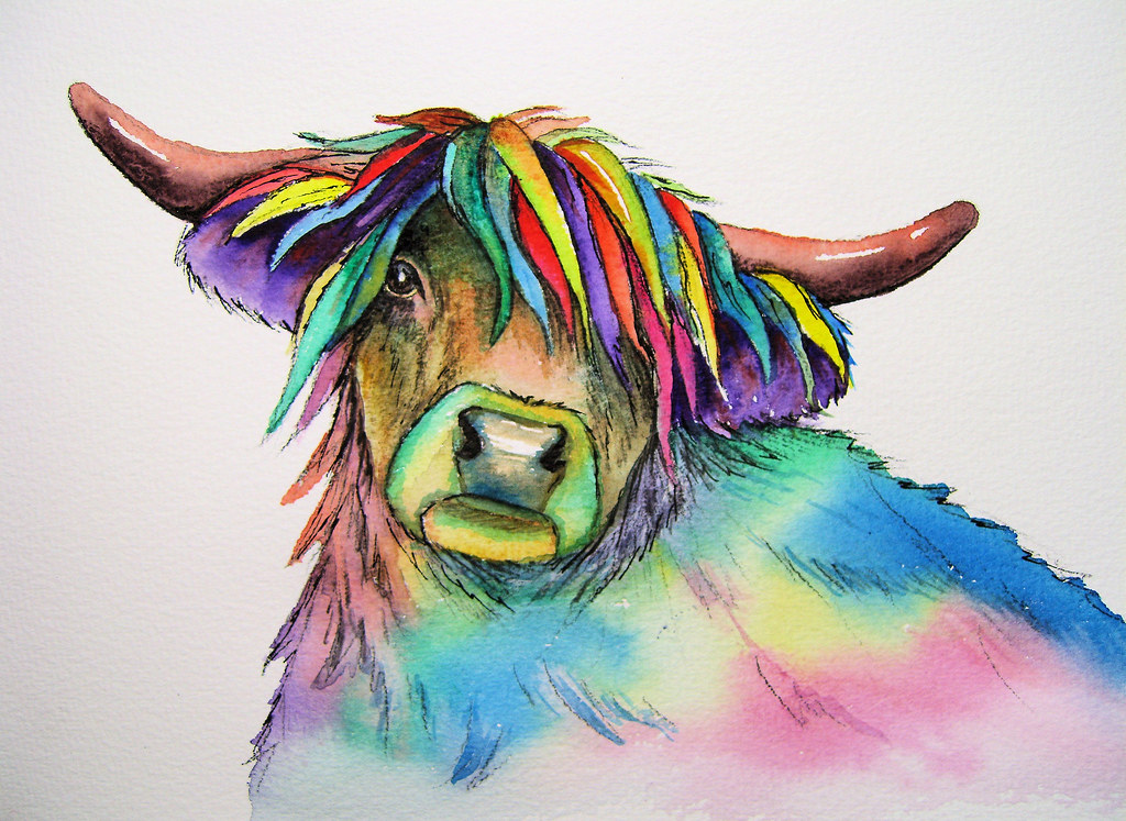 Watercolour painting of a highland cow | Colourful ...