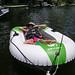 Lauren cruising behind the canoe