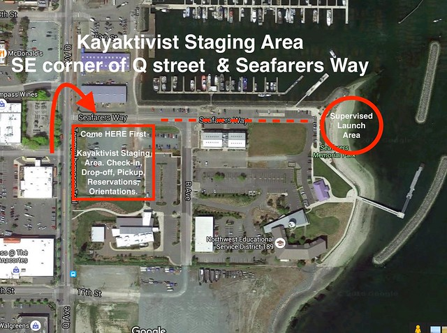 Kayaktivist Staging Area - SE corner of             Q Street & Seafarers Way