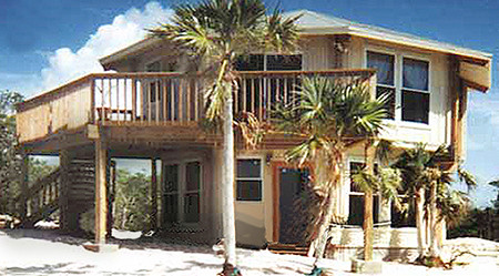 Topsider homes prefab two story beach house built in baham for Double storey beach house designs