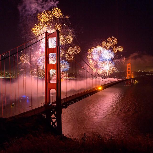 Golden Gate Bridge 75th Anniversary Fireworks Square